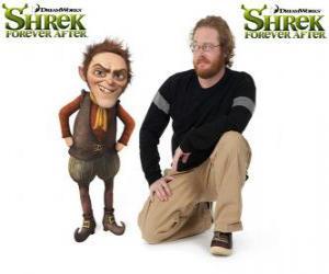 puzzel Walt Dohm geeft de stem van Repelsteeltje, in de nieuwste film Shrek Forever After