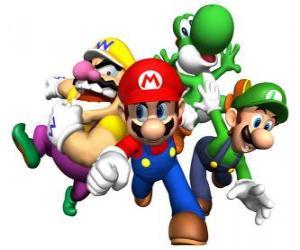 puzzel Wario, Mario, Yoshi en Luigi