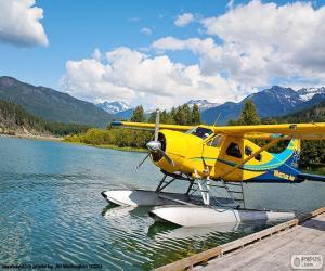 puzzel Watervliegtuig dubbeldekker geel
