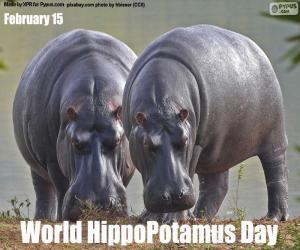 puzzel Wereld HippoPotamus Dag