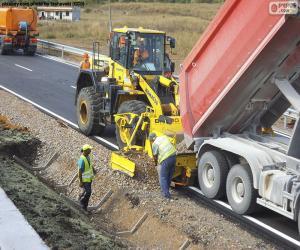 puzzel Werknemers die werken op een snelweg