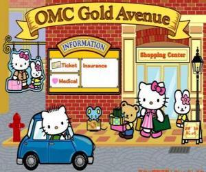 puzzel Winkelen dag met Hello Kitty en vrienden