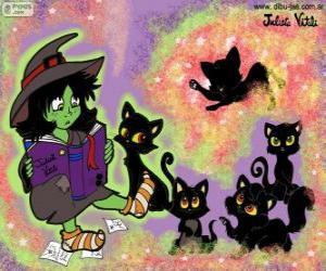 puzzel Witch met hun zwarte katten