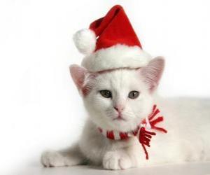 puzzel witte kat met Santa Claus hoeden