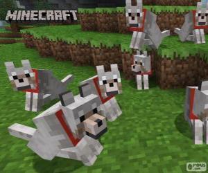 puzzel Wolven van Minecraft