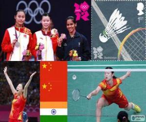 puzzel Women's singles Badminton podium, Li Xuerui (China), Wang Yihan (China) en Saina Nehwal (India) - Londen 2012-