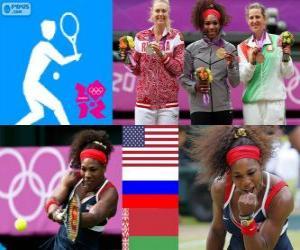 puzzel Women's singles tennis podium, Serena Williams (Verenigde Staten), Maria Sharapova (Rusland) en Victoria Azarenka (Wit-Rusland) - Londen 2012-