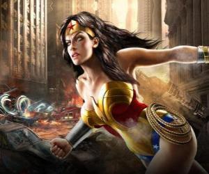 puzzel Wonder Woman is een onsterfelijke superheldin met bevoegdheden die lijken op Superman