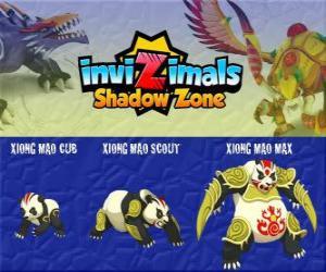 puzzel Xiong Mao Cub, Xiong Mao Scout, Xiong Mao Max. Invizimals Shadow Zone. Deze gigant schepsel is de eerste bewaker van het graf van de Dragon Emperor