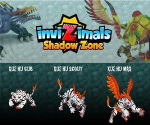 puzzel Xue Hu Cub, Xue Hu Scout, Xue Hu Max. Invizimals Shadow Zone. De witte tijger van de hemel is de vierde wacht het graf van de Draak Keizer en de meest krachtige
