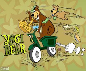 puzzel Yogi en Boo-Boo Beer op een motorfiets