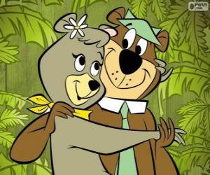 puzzel Yogi en Cindy, twee geliefden beren in het park Jellystone
