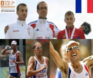 puzzel Yohann Diniz kampioen 50 km snelwandelen, en Sergey Bakulin Grzegorz Sudol (2e en 3e) van het Europees Kampioenschap Atletiek 2010 in Barcelona