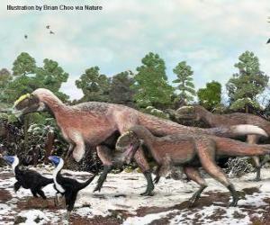 puzzel Yutyrannus met bijna 9 meter in lengte is de grootste dinosaurus met veren bekend