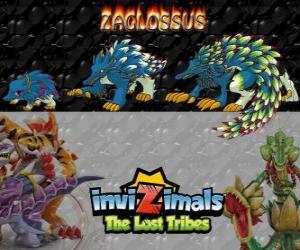 puzzel Zaglossus, laatste evolutie. Invizimals The Lost Tribes. Invizimal lijkt op een stekelvarken