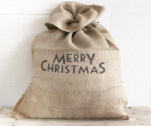 puzzel Zak met de giften van Kerstmis