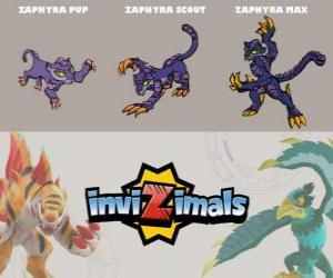 puzzel Zaphyra in drie fasen Zaphyra Pup, Zaphyra Scott en Zaphyra Max, Invizimals