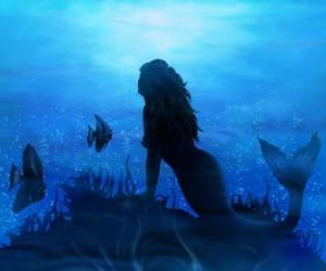 puzzel Zeemeermin of een sirene op de zeebodem