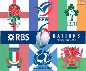 puzzel Zeslandentoernooi rugby met de deelnemers: Frankrijk, Schotland, Engeland, Wales, Ierland en Italië