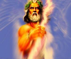 puzzel Zeus, de Griekse god van hemel en donder en de koning van de Olympische goden