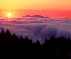 puzzel Zonsondergang op de berg