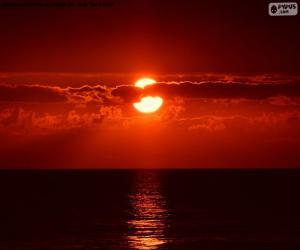 puzzel Zonsondergang op de zee