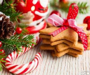 puzzel Zuurstok en cookies voor Kerstmis