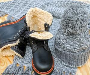 puzzel Zwarte winter laarzen