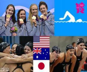 puzzel Zwemmen vrouwen 4x100m wisselslag LDN12